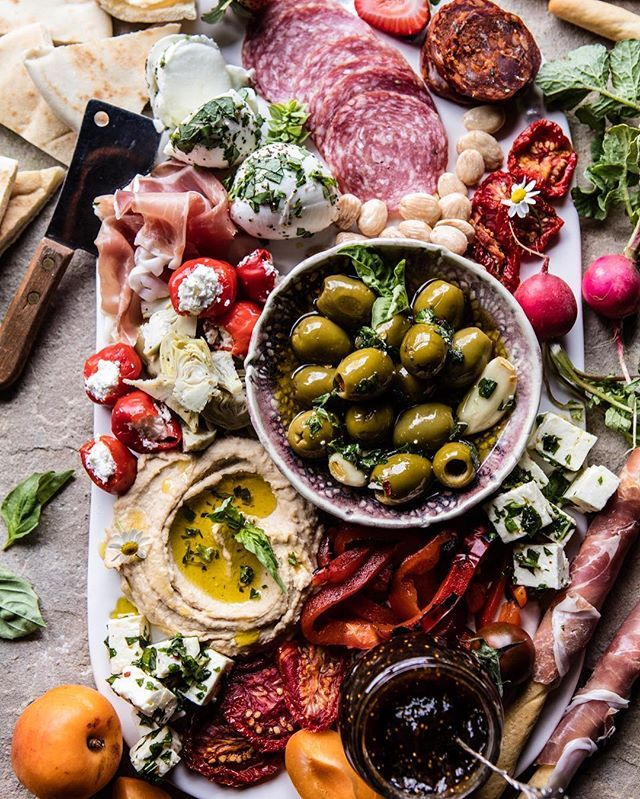 On the blog: Greek Inspired Antipasto Platter. Um just YES. I think the photo says it all here...make me all summer long! Full recipe is on the site! @halfbakedharvest