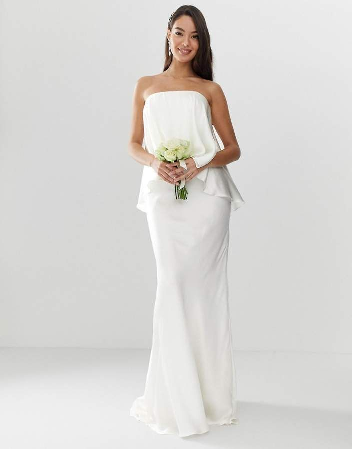 11ebb96c3 ASOS EDITION Satin overlay bandeau wedding dress with fishtail  asos ...