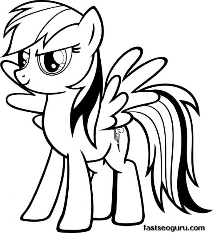 Serious face of Rainbow Dash coloring page free printable