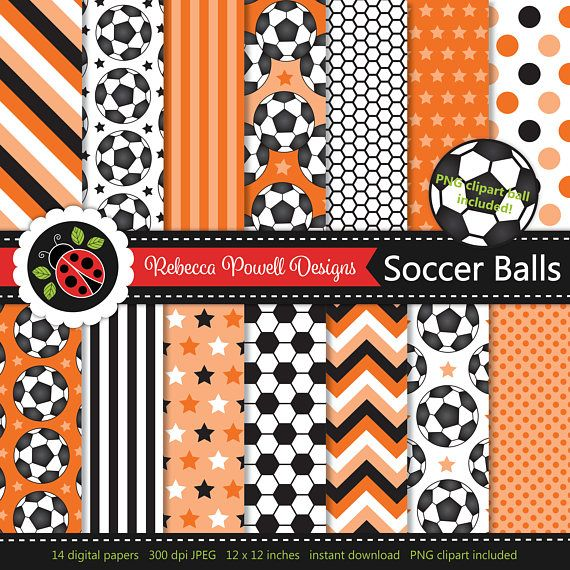 Soccer/ football digital paper set which includes a clipart PNG soccer ball! Great for crafts, scrapbooking, commercial and digital use. Available from Etsy & Teachers Pay Teachers #etsy #etsyseller #etsyshop #teacherspayteachers #soccer #football #sports #supplies #commercialuse #pattern #digitalpaperset #printablepapers #papers #crafts #scrapbooking #soccerballs #footballs #digitaldownload #digitalbackgrounds #orange #clipart #resources #instantdownload #jpeg #png #stars #spots #stripes