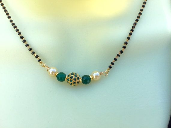 On Sale-Green Stone Studded Mangalsutra Green Beads by Alankaar