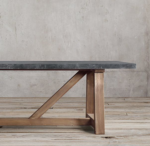 Restoration Hardware Marble Coffee Table: Salvaged Wood & Marble Beam Rectangular Dining Table