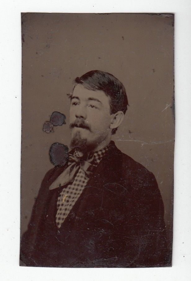 [37510] Circa 1800s TINTYPE PHOTOGRAPH OF YOUNG MAN WITH MUSTACHE AND GOATEE | eBay