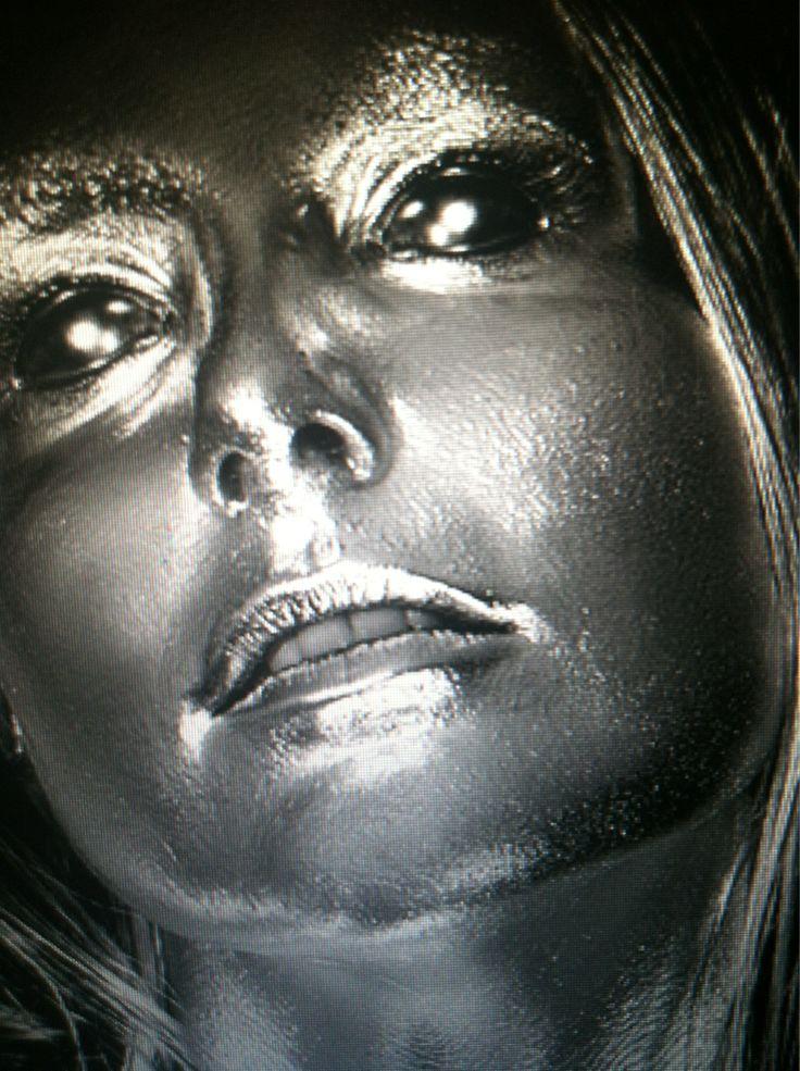 C3P0 makeupMakeup Silver, Fx Makeup, Body Painting, Silver Body, Silver Makeup, C3P0 Makeup, Metals Face, Couture Makeup, Body Makeup