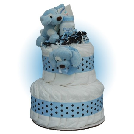 Baby Shower Gifts:Blue Sparky 2-Tier Diaper Cake