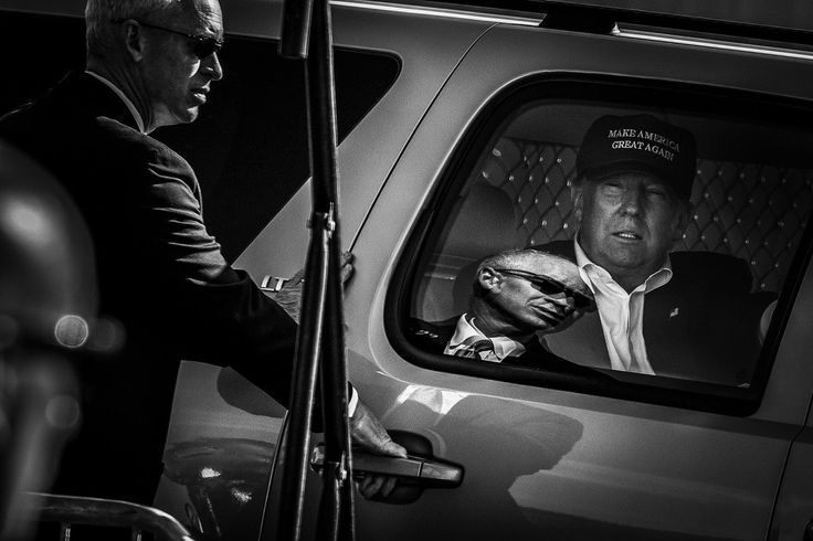 Amid tight security, Donald J. Trump arrives for a campaign rally November 2, 2016, at the Central Florida Fairgrounds in Orlando, Florida.