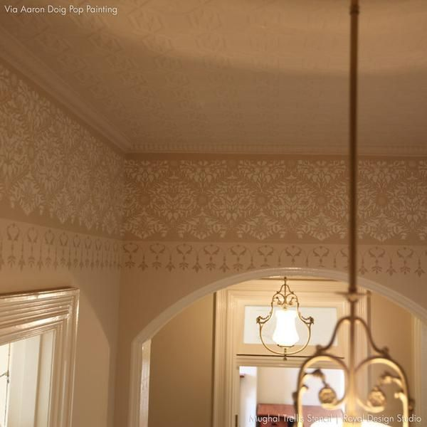 This ornateMughal Trellis Moroccan Wall Stencil is exotic and elegant at the same time. Stencil it in tone-on-tone colors for a delicate feel, or paint it in m