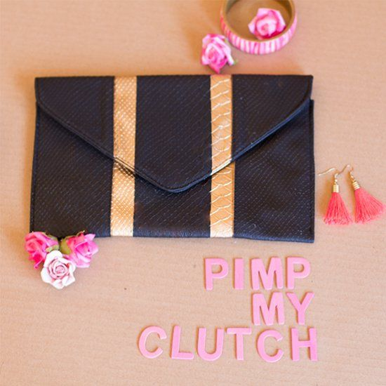 Take some gold spray paint to your boring black clutch and add a bit of BLING!