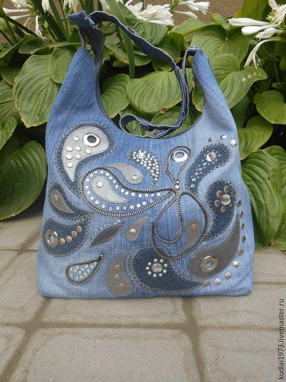"""Купить Джинсовая сумка """" Пейсли"""" - синий, джинсовый стиль, аппликация из кожи, Декор"""