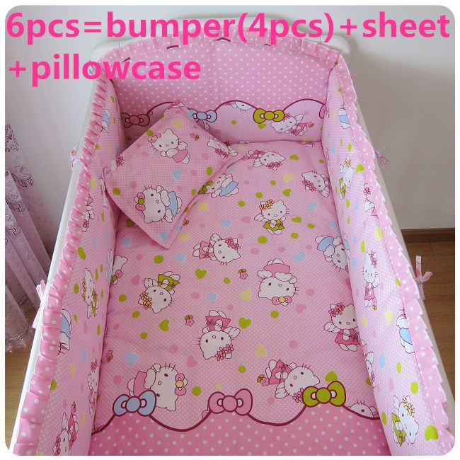 Promotion! 6pcs Hello Kitty baby bedding set crib for baby bed linen,include (bumpers+sheet+pillow cover)
