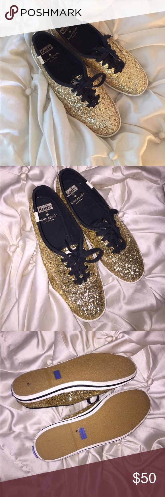 gold kate spade keds nearly perfect condition. worn outside once. so cute but i never wear them! kate spade Shoes Sneakers