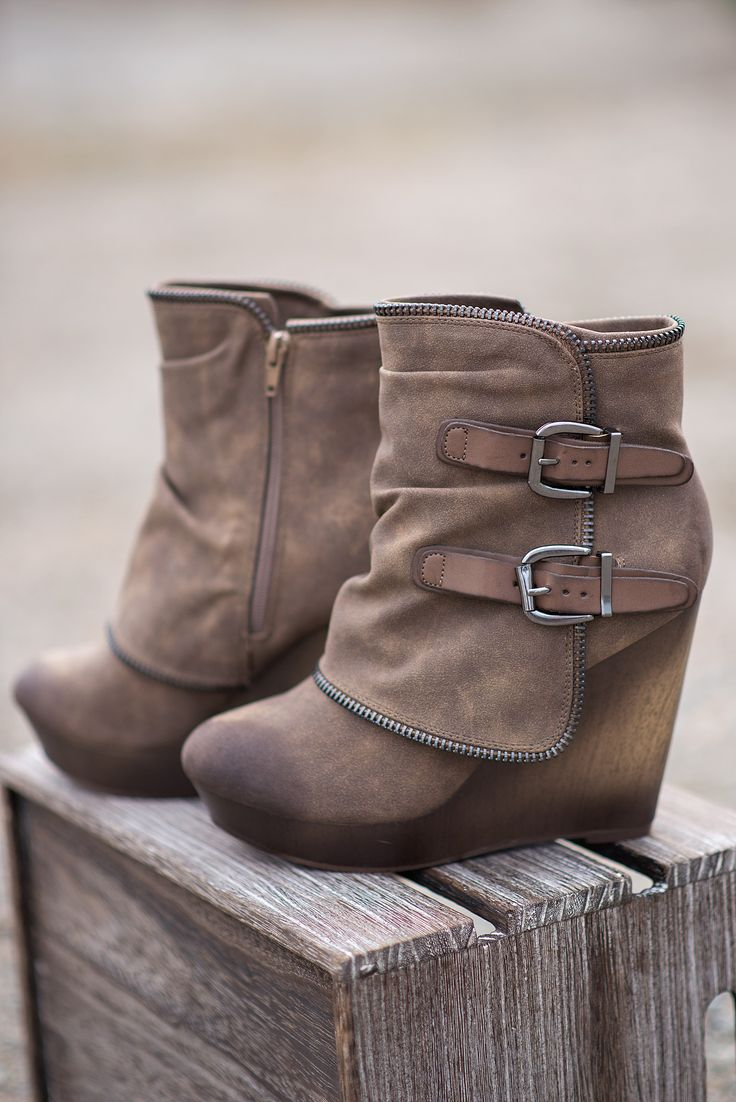 Why Don't We Just Wedge Double Buckled Wedge Booties (Taupe) - NanaMacs.com - 1