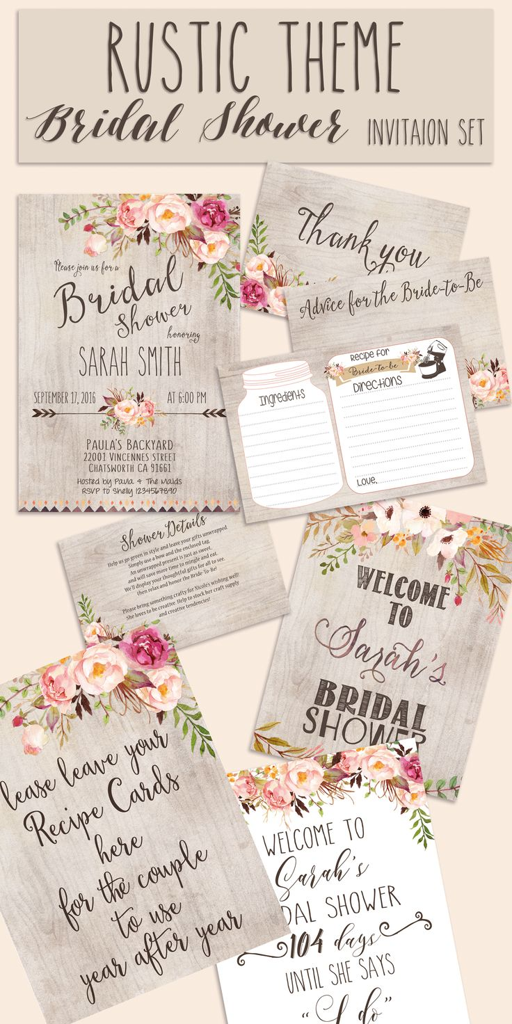 Bridal shower INVITATION Rustic Garden shower invite welcome sign thank you card…