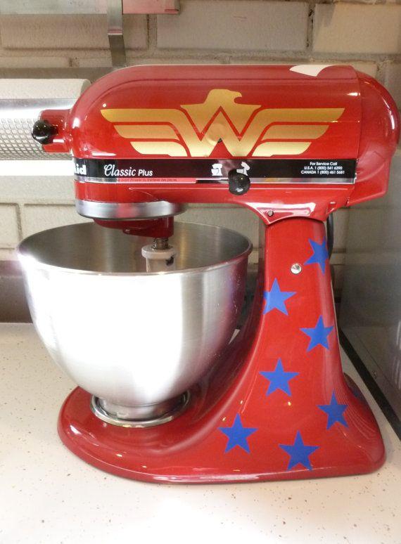 Red Wonder Woman Decal Kitchen Aid