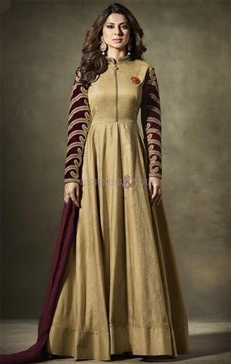 Indian Celebrity Jennifer Winget Dressed Khaki Beige Long Suit Set #DesignersAndYou #Dress #Suit #BolywoodSuit #DeignersBollywoodFashion #JenniferWinget