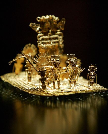 The scene depicted in this ancient artwork, on display at the Gold Museum in Bogota, Colombia, shows the origin of the El Dorado myth. Legend tells of a Muisca king who would cover himself in gold dust during festivals, then dive from a raft into Lake Guatavita.