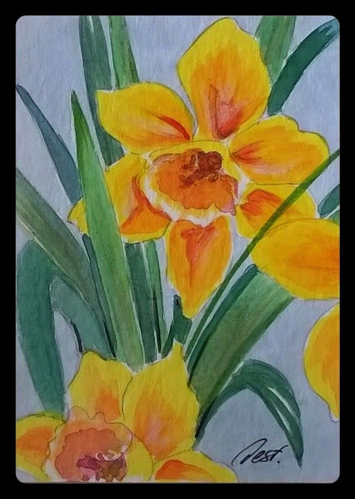 """Daffodils #1"" ACEO Original painting daffodils flower garden miniature art Desf"