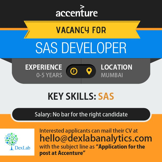 """Interested applicants can mail their CV at http://www.dexlabanalytics.com/contact with the subject line as""""Application for the post at Accenture""""  Accenture is looking to hire candidates who have good knowledge of clinical SAS, ADAM and SDTM. The purpose of the job is to create SAS datasets of clinical data from Biometric databases, QC summary tables, listings and graphs as per statistical analysis plan. Accenture is a leading global professional services company, providing a broad range of…"""