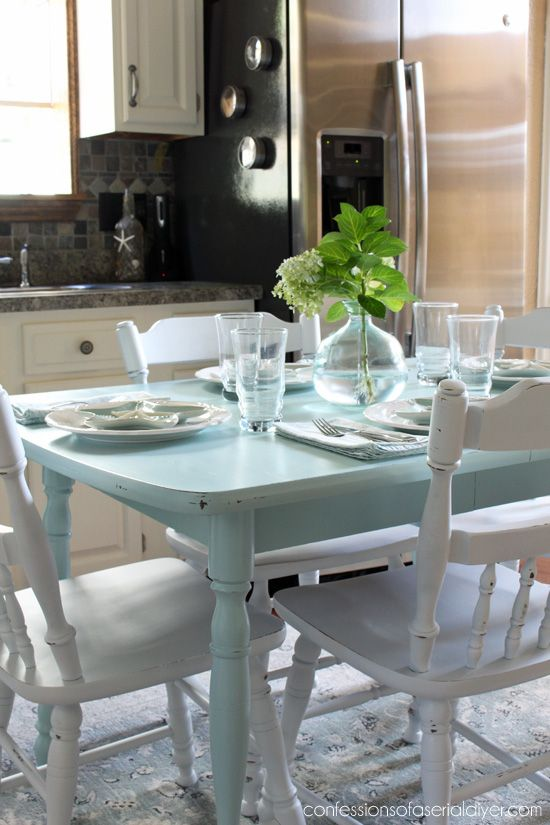 How To Paint A Laminate Kitchen Table From Confessions Of Serial Do It Yourselfer I Love This Blue And White Combo For Dining