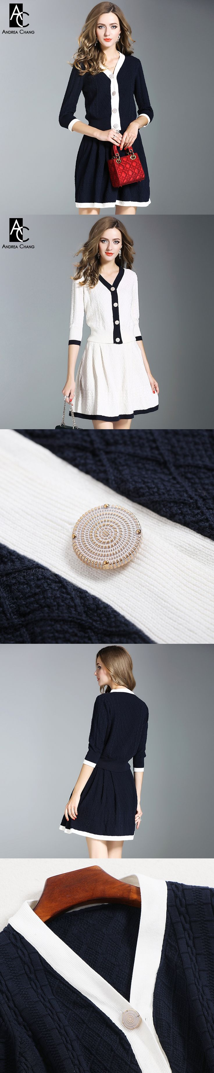 autumn winter woman outfit dark blue white knitted suit 3/4 sleeve v-neck single breasted sweater mini skirt cotton outfit suit