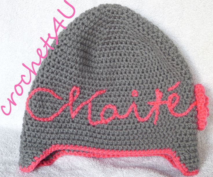 Crochet name on hat