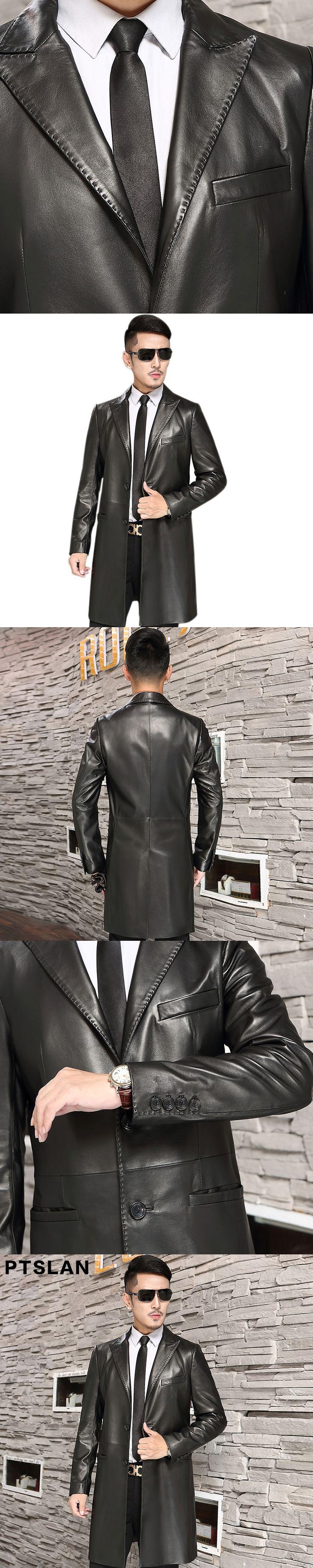 Ptslan Men'S Genuine Leather Coat Male Sheepskin Classic Casual Coats