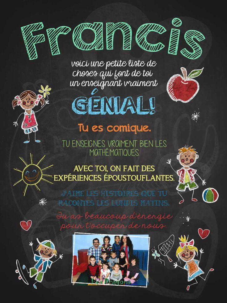 Affiche personnalisée Enseignant génial! avec photo | 17,00$ #lacraieco #chalkboard #cadeau #professeur