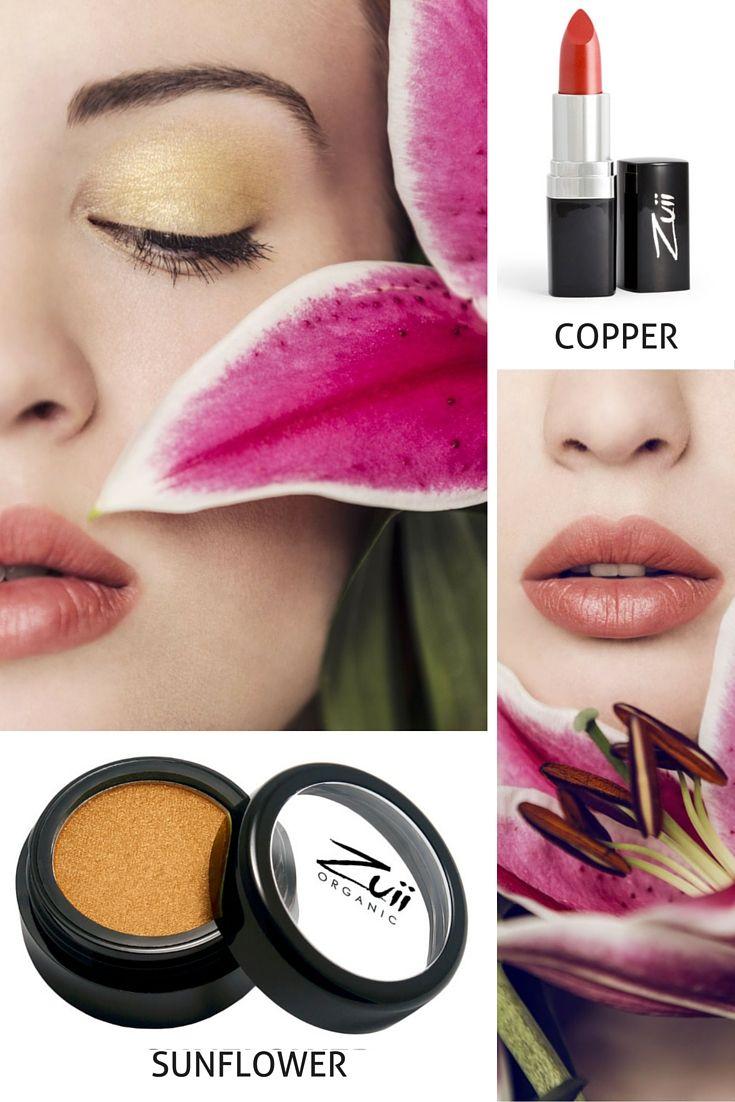 Makijaż codzienny dla cery ciepłej Zuii: 2 kluczowe produkty: słoneczny cień do powiek SUNFLOWER oraz czerwono-pomarańczowa szminka COPPER