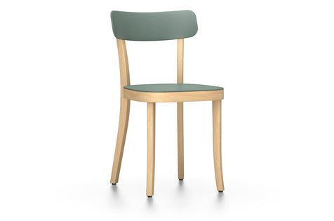 Vitra Basel Chair - hellgrau, Gleiter für Teppichböden, Buche natur