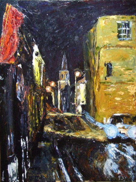 """'Athy at Night, No.2'.  30""""x40"""" acrylic on canvas, 2009, sold.  A painting by Bob Gravenor.  www.facebook.com/BobGravenorFineArt"""