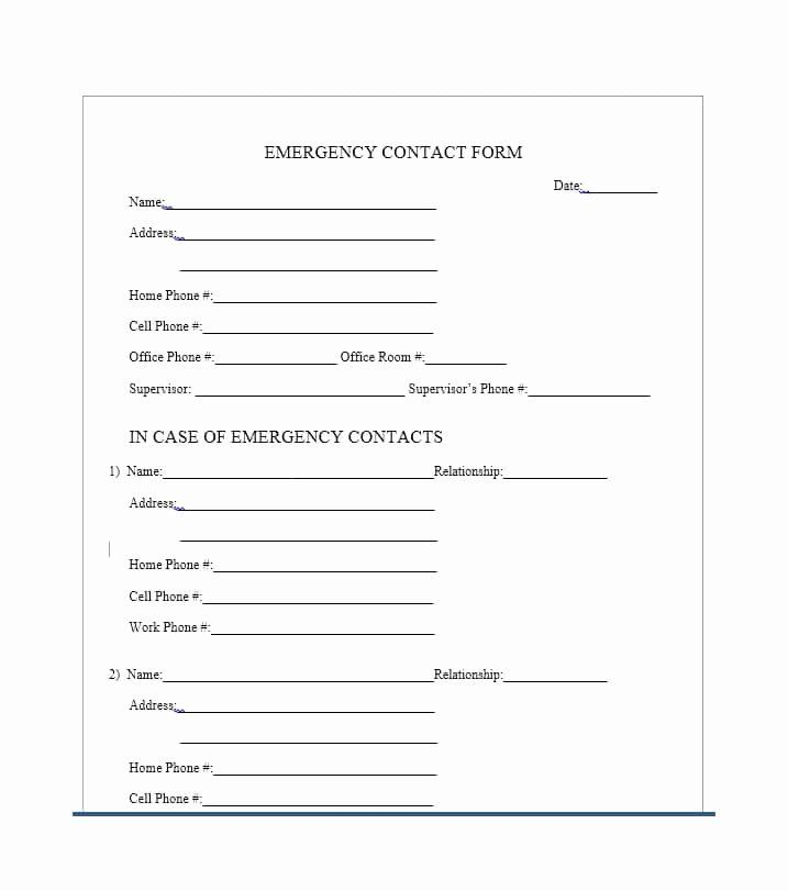 Employee Emergency Contact Form Template Beautiful 54 Free Emergency Contact Forms Empl Emergency Contact Form Sign In Sheet Template Product Catalog Template