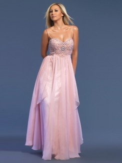 Spaghetti Straps Beading Sleeveless Ankle-length Chiffon Prom Dresses Evening Dresses