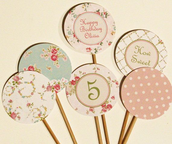 shabby chic cupcake toppers....