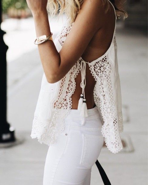 Top: summer lace slit tassel white jeans summer outfits all white everything summer holidays cute