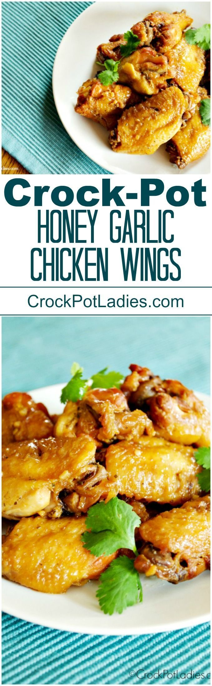 Crock-Pot Honey Garlic Chicken Wings - Sink your teeth into this delicious recipe for Crock-Pot Honey Garlic Chicken Wings! Served as an appetizer or main dish, these wings are super yummy! #GlutenFree options too! via @CrockPotLadies