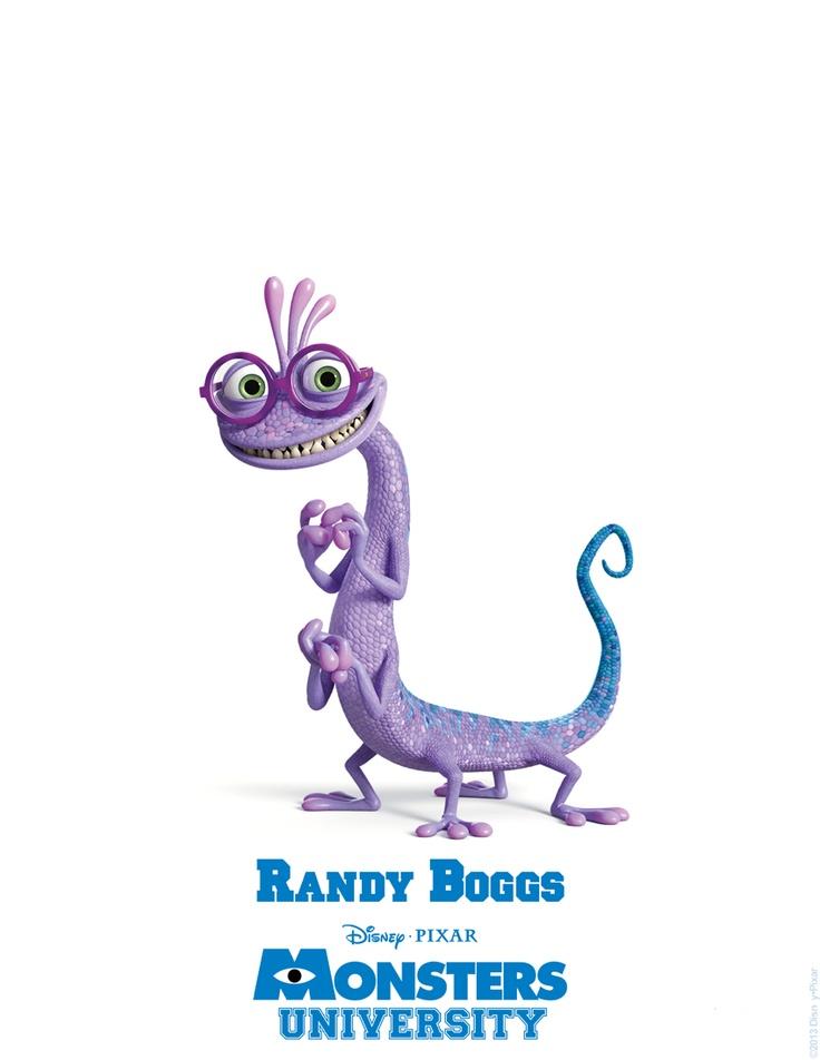 Randy Boggs: (También novato en Monsters University, Randy Boggs tiene grandes aspiraciones para su vida universitaria. El peculiar monstruo símil-lagarto, con su montón de desgarbados brazos y patas, planea graduarse en Sustos y llevar una vida social activa, llena de diversión, amigos y fiestas de fraternidades. Si tan sólo pudiera controlar su vergonzoso hábito de desaparecer, estaría listo para todo ello, pero ¿cómo se convertirá en un gran asustador si nadie puede verlo?