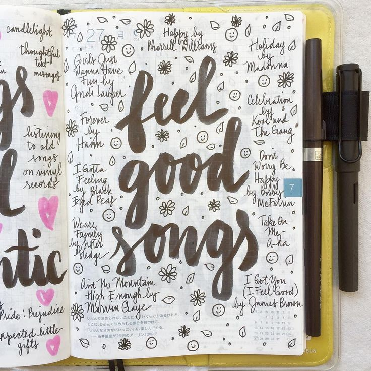 What are your favorite feel good songs? ❤️  #journal #artjournal #hobonichi…
