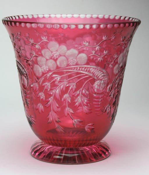 Exceptional Circa 1880 Cranberry Cut To Clear Vase - too pretty not to include with the cranberry boxes