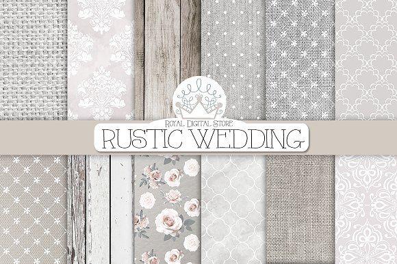 RUSTIC WEDDING digital paper by RoyalDigitalStore on @creativemarket