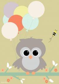 Poster: Uiltje met ballon