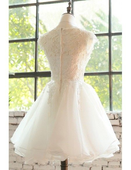 d89f844ea3c Cute Short Lace Cap Sleeve Short Wedding Dress Lace Tulle  E9816 ...