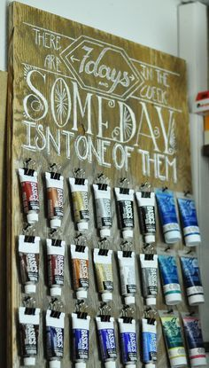 """Paint storage board with chalk lettering by Sarah (<a href=""""http://whynoteight.wordpress.com"""" rel=""""nofollow"""" target=""""_blank"""">whynoteight.wordp...</a>)"""