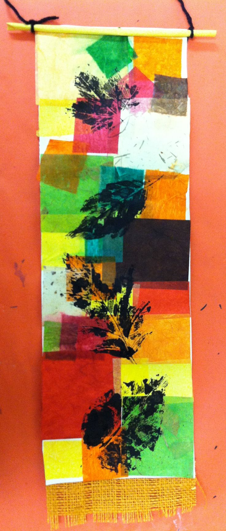 Highland Park Elementary - 3rd Grade - Fall Leaf Print Collage Hanging