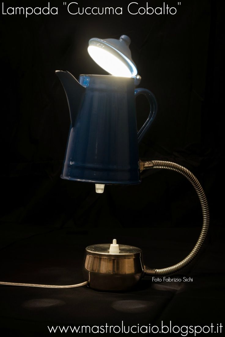 """Cuccuma cobalto"" lamp, made with a cobalt blue kettle, flexible chrome-plated hose, sugar jar (base). #kettle #blue #teiera #lamp #vintage #redesign #handicraft #recycle #reuse #artigianato #lampade #lights #luci #handmade"