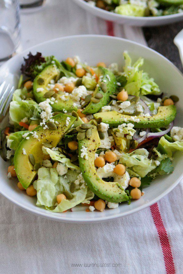Ultimate Spring Salad with chickpeas, avocado, peas and White Balsamic ...