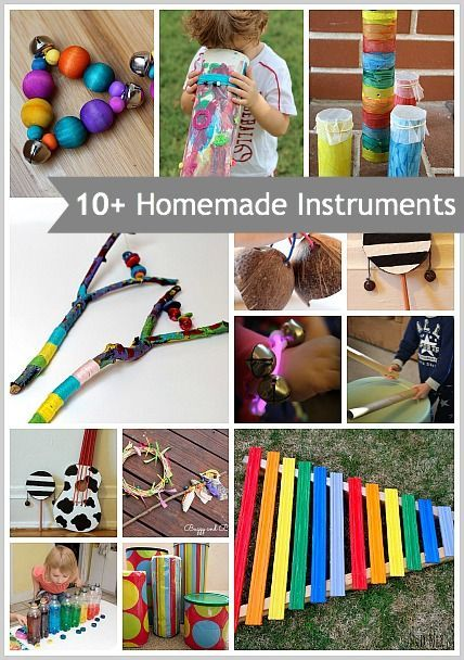 10+ Homemade Musical Instruments for Kids- How to make a kazoo, xylophone, drums, and more!