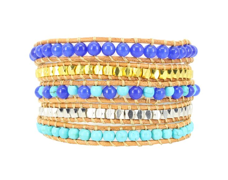 SIENNA Wrap Bracelet by #Beautiz. Beautiful 5 layer handcrafted leather wrap bracelet. Real Turquoise, Lapis Lazuli Stones with golden and silver metal beads. Stainless Steel and Nickel-Free Clasp. Shop here: http://www.beautiz.net/english/fashion-jewelry/bracelets/wrap-bracelets/sienna-wrap-bracelet.html