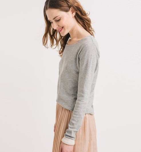Pull+fin+col+rond+Femme