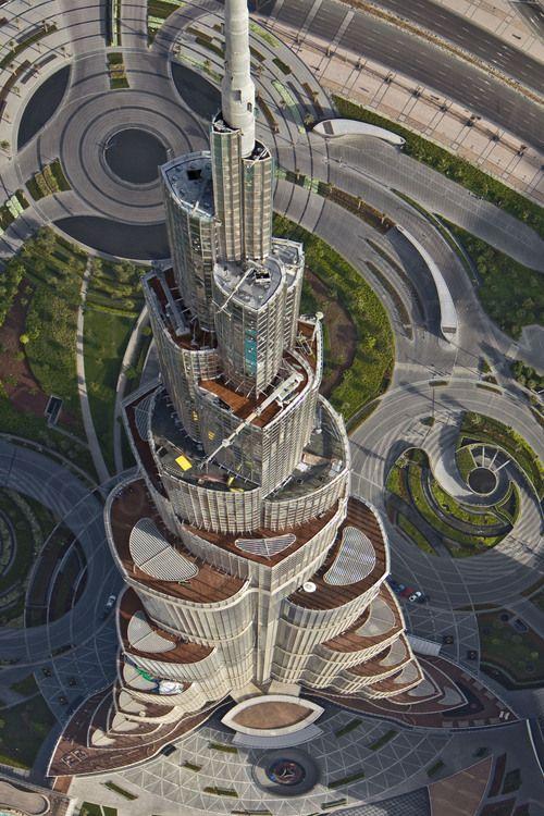 Aerial View Of The Upper Floors Of Burj Khalifa Tallest