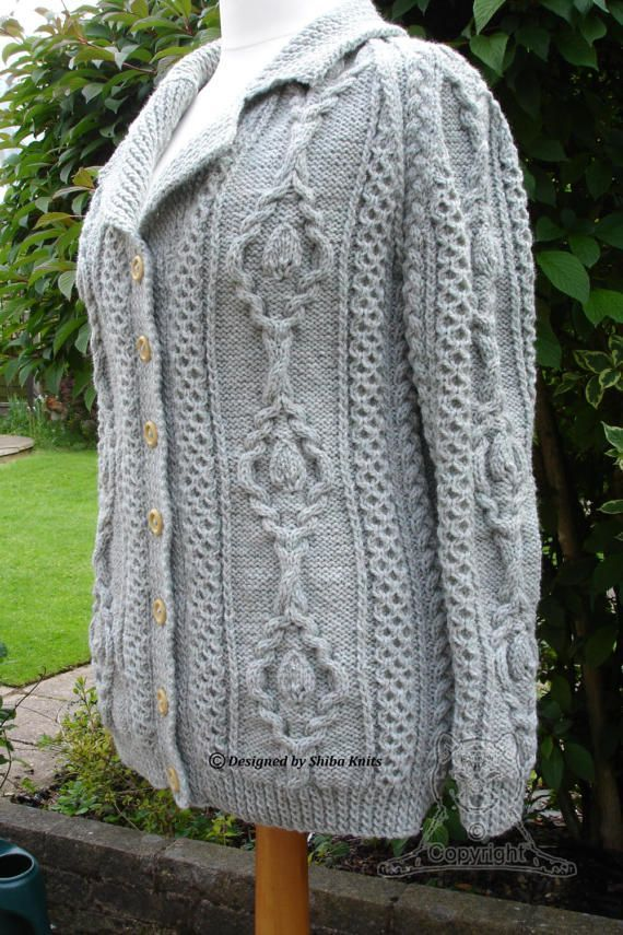 Ladies Aran Jacket Aran Cardigan Ladies Knitted by ShibaKnits
